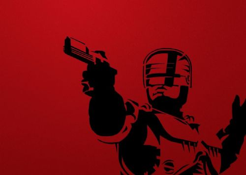 1990's Movie - ROBOCOP - MINIMAL RED canvas print - self adhesive poster - photo print